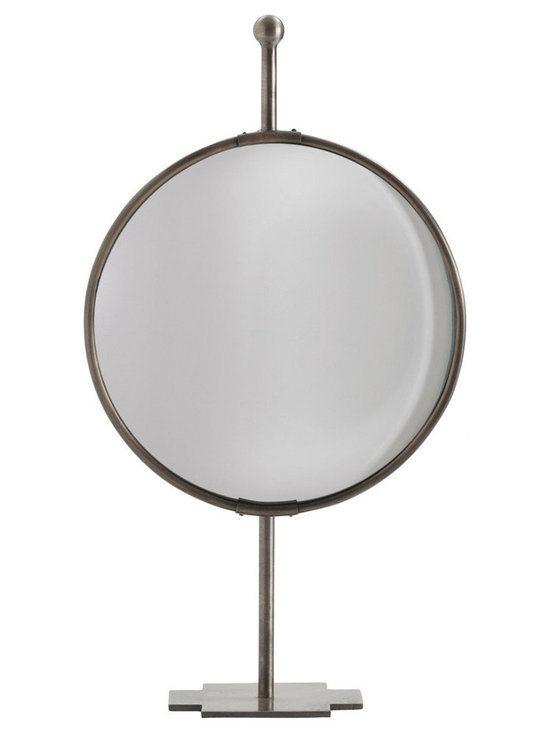 Arteriors Home - Garbo Table Mirror - Garbo table top adjustable convex mirror made of iron in an Antique Bronze finish on a coordinating stand. 12 inch width x 22 inch height x 5 inch depth.