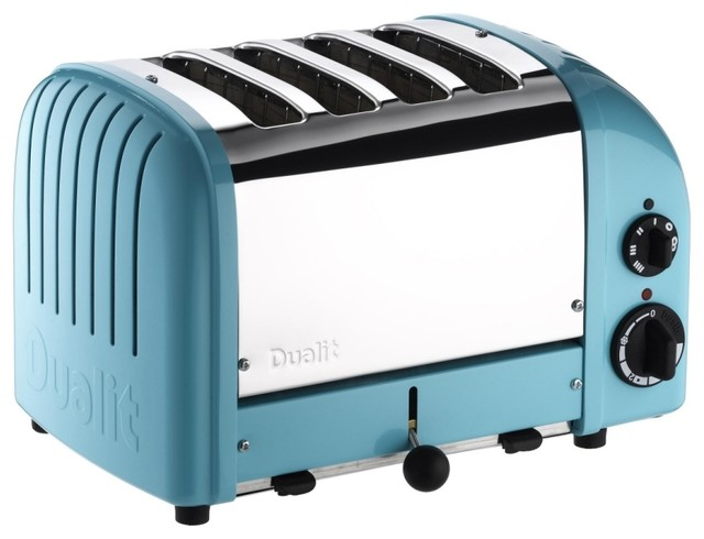 Dualit 4-Slice Classic Bread Toaster, Azure Blue contemporary-toasters