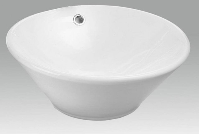 White china vessel lavatory sink with overflow. eclectic-bathroom-sinks