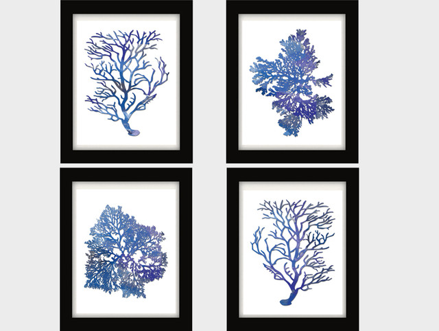 Blue white blue coral blue coral wall art blue watercolor blue