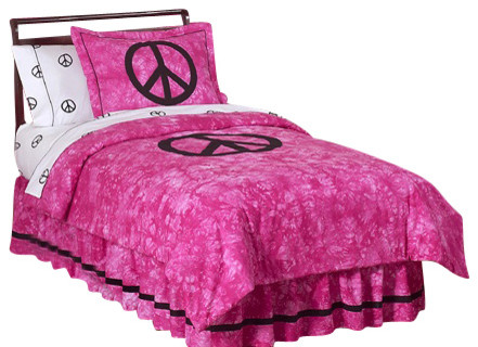 Pink Peace Kid's Bedding Set Full/Queen (3 Pc.) contemporary-duvet-covers