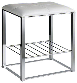 Chrome Bathroom Stool With White Leather Top And Shelf Contemporary Vanity Stools And