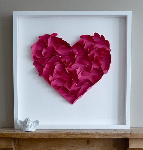 Large Paper Heart Framed Picture contemporary-artwork