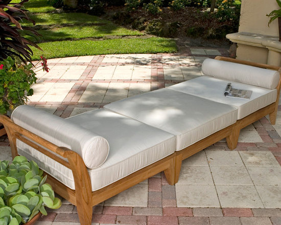 Aman Dais 9ft Teak Chaise - Sectional Daybed and Lounge Seating