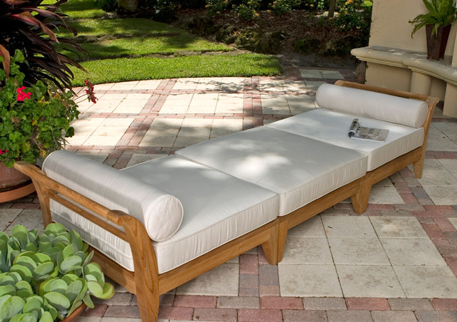 Aman dais 9ft teak chaise asian outdoor chaise lounges for Asian chaise lounge