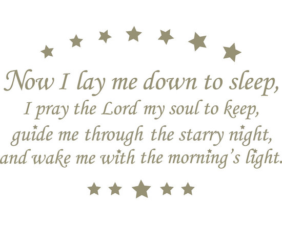 """WallPops - Now I Lay Me Down - Wall Wishes Wall Decals - Now I Lay Me Down to Sleep is a classic children's prayer to be said at bedtime. Bring this timeless prayer to your wall with Wall Wishes. With its beautiful words and sweet starry design, this wall poem will look wonderful in your nursery. Now I Lay me Down Wall Wishes come on a single 17 1/4"""" x 39"""" sheet and contains 24 total pieces."""