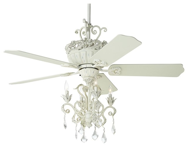 52u0026quot; Casa Chic Antique White Chandelier Ceiling Fan - Farmhouse - Ceiling Fans