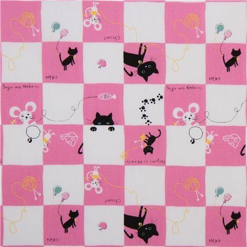 pink checkered kitty mouse Kokka fabric Japan kawaii nursery-decor