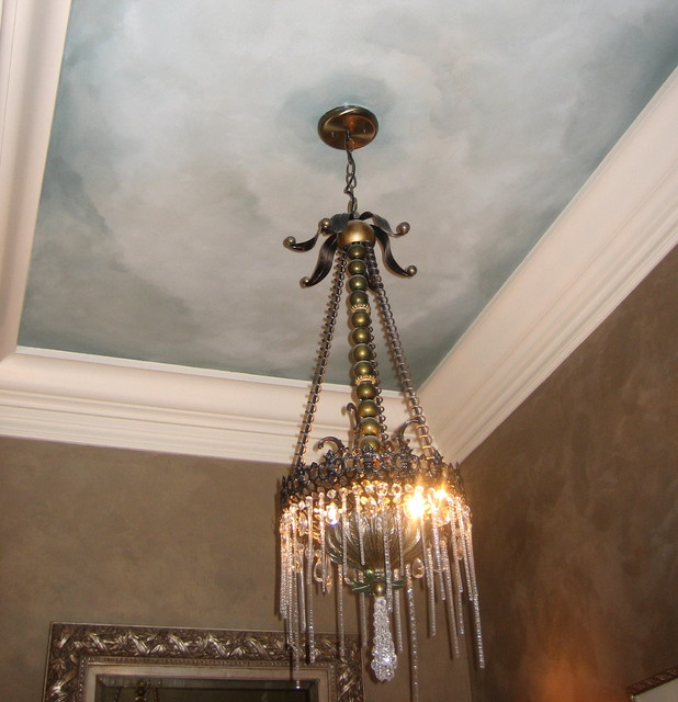 powder room sky ceiling and metallic texture walls traditional