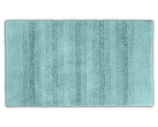 "Sands Rug - Westport Stripe Sea Glass Washable Bath Rug (2'6"" x 4'2"") - Classic and comfortable, the Westport Stripe bath collection adds instant luxury to your bathroom, shower room or spa. Machine-washable, always plush nylon holds up to wear, while the non-skid latex makes sure rugs stay in place."