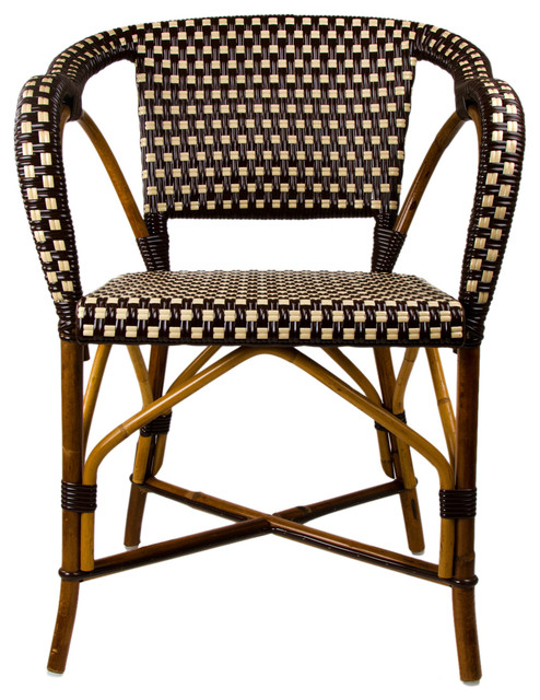 brown cream mediterranean bistro chair with woven arms mediterranean dining chairs los. Black Bedroom Furniture Sets. Home Design Ideas