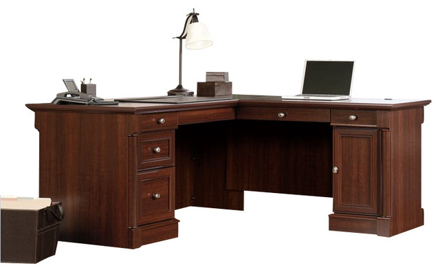 Sauder Palladia L Shaped Desk In Select Cherry