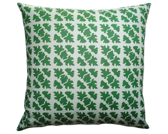 Balanced Design - Hand Printed Canvas Pillow - Shade, Leaf, 22 x 22 - -Graphic, modern patterns -Hand printed in a historic Rhode Island textile mill on 10oz. canvas -Eco-friendly inserts (50% regenerated fiber made from recycled plastic bottles, 50% 95/5 feather)  -Zipper closure  -Wash in cold water, line dry.  -Sewn in Massachusetts  -Imported Fabric