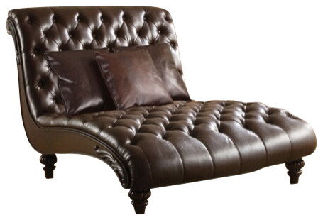 Anondale 2 tone espresso leather like armless chaise for 2 person chaise lounge indoor