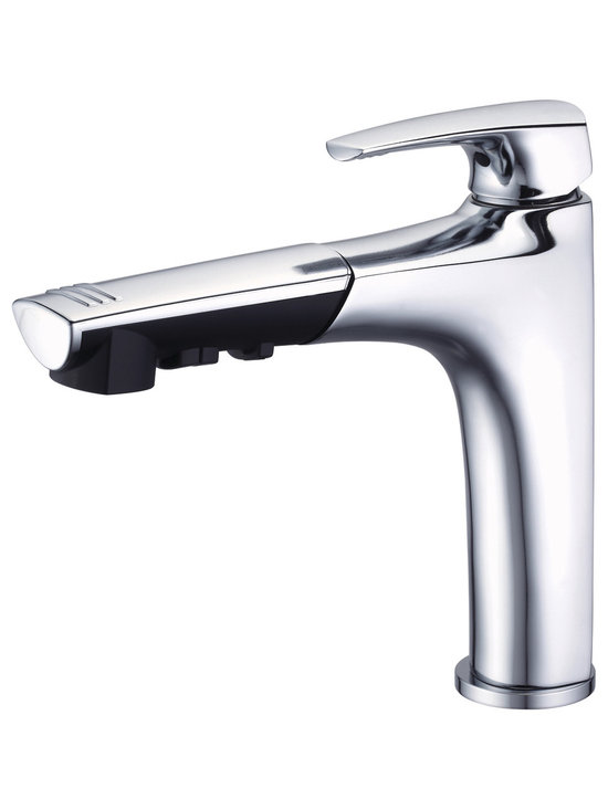 Danze Taju™ Single Handle Pull-Out Kitchen Faucet - - 3 function spray/aerated stream/pause.