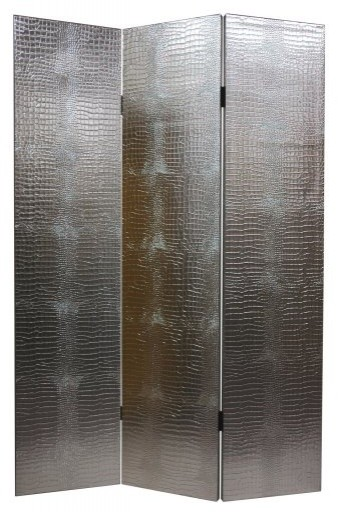 Faux Leather Silver Crocodile Room Divider eclectic-screens-and-room-dividers
