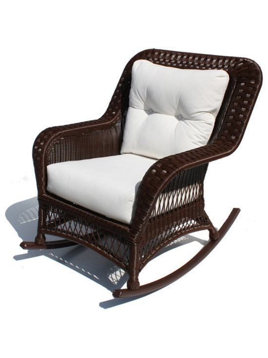 WickerParadise - Outdoor Wicker Rocker - Princeton Shown in Chocolate Brown - Lazy summer afternoons are a lot more relaxing when you have a chair like this one. The classic lines and neutral color give this rocker a contemporary charm that works in a historic home or a modern-day cottage.