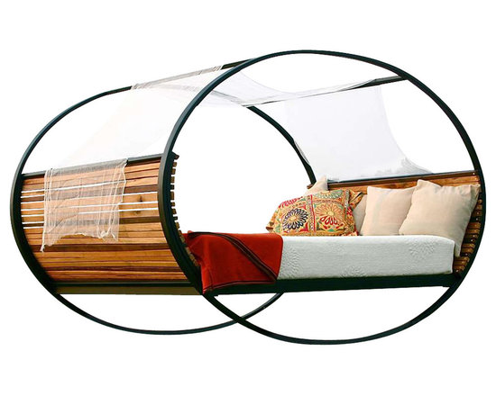 """Shiner - Shiner Mood Rocking Bed, Full, Walnut, Queen, Black Frame - Modern, eco-friendly furnishings made in Atlanta, Georgia. Our goal is to transform tons of landfill-destined materials into killer designs. By building pieces out of disposable elements, we refine the future by upcycling the past. Everything from the steel, hardwoods, and cardboard to our lexan and linen is diverted from the incinerator. We strive to make every piece knock-down for ease of shipping with less environmental impact. This piece is a carbon steel frame your choice of blackened or brushed steel with wood in your choice of Pine, Oak, Walnut, or Calico (all woods). The Rocking Bed in Queen measures 106""""x64""""x63 and can be used indoors or outdoors."""