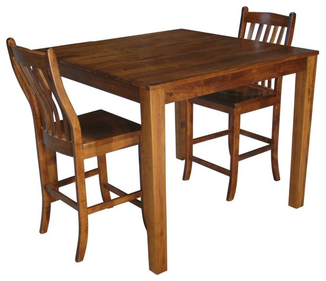 Counter Height Square Solid Maple Wood Table And Chair Set Of 2 Transitiona