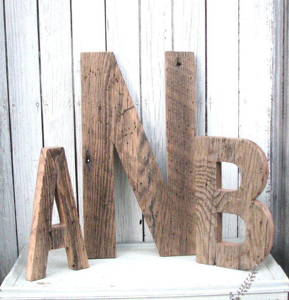 Decorative barn wood letters by second nature woodwork contemporary wall letters by etsy - Decorative wooden letters for walls ...