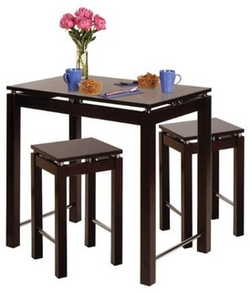 Linea Pub Kitchen Table with Stool Set of 3