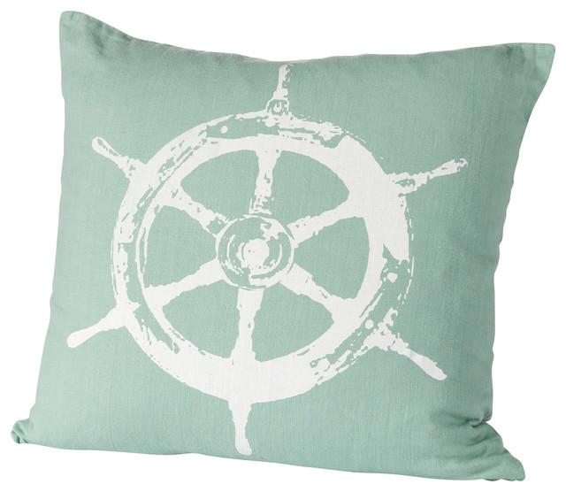 Montauk Wheel Pillow, Aqua/White contemporary-decorative-pillows
