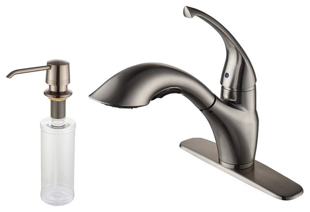 Kraus Single Lever Pull Out Kitchen Faucet And Soap Dispenser Satin Nickel Modern Kitchen