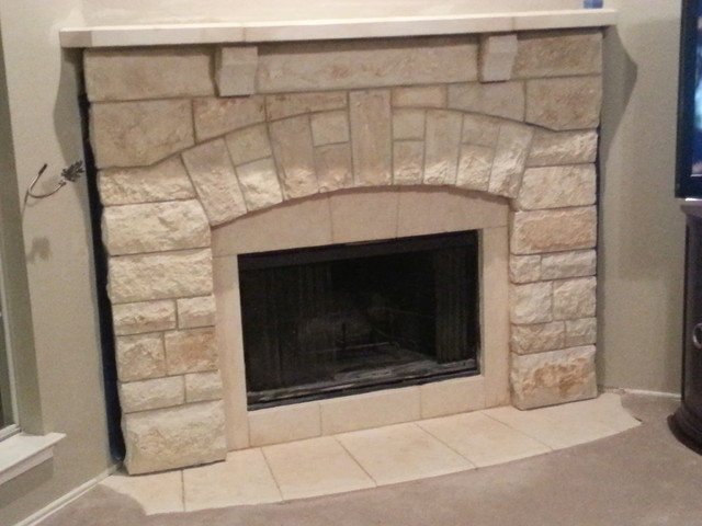 Chopped Cream Limestone Fireplace Mantel Traditional