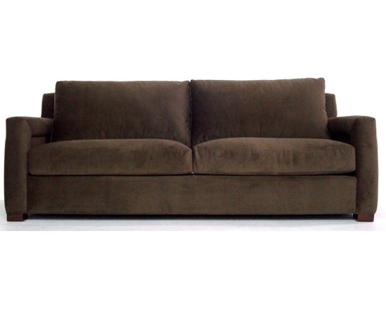 Avery Sofa - The contemporary track arms of the Avery sofa along with the beautiful inset panel detail on the sides, make this sofa a statement piece. Relax on the feather and down topped seat cushions, kiln dried hardwood frame, and heavy gauge spring suspension. This sofa is made to order in the USA and can be delivered to your home in 6 - 8 weeks.