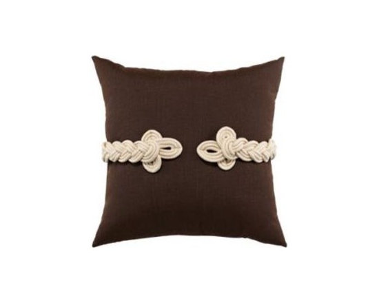 "Elaine Smith Luxury Outdoor Pillows - Elaine Smith Pillows Belgique Chocolate Frog's Clasp - 19"" x 19"" - Elaine Smith pillow collections is the world's first and only line of outdoor luxury pillows. They start with the best, solution dyed yarns and work with the finest U.S. mills to create beautiful, long lasting quality products. These pillows can withstand nature and human nature, resisting sun, rain, and stains."