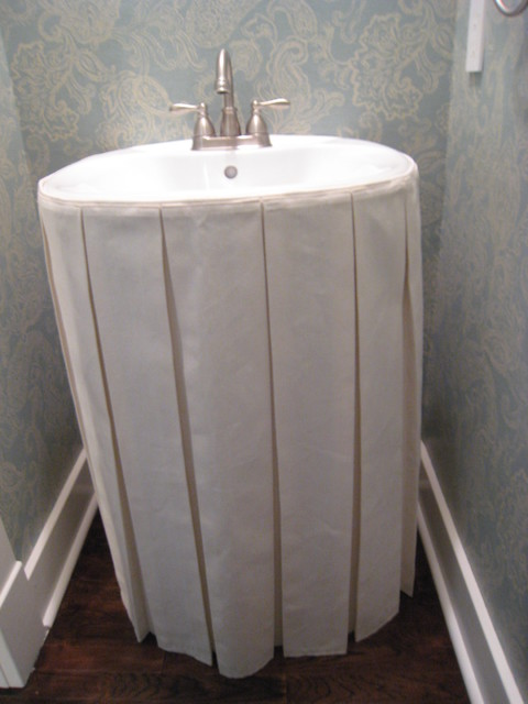 Linen Box Pleated Sink Skirt Traditional Nashville