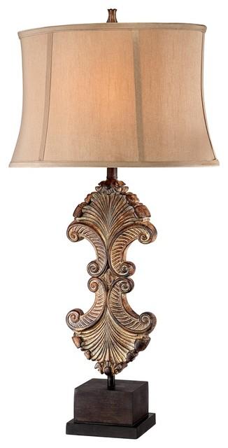 Traditional Possini Architectural Element Antique Gold Bronze Table Lamp traditional-table-lamps