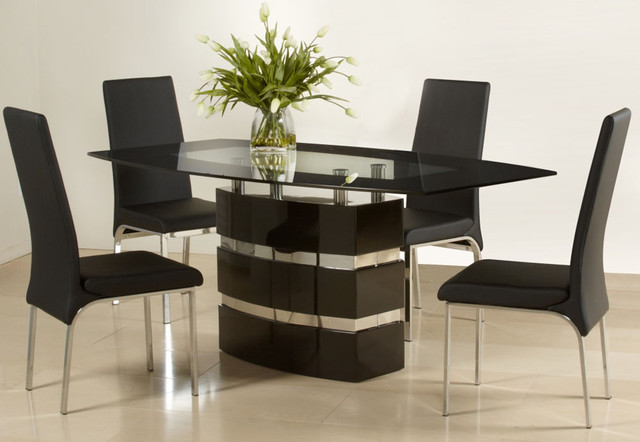 Graceful Wooden And Glass Top Designer Table And Chairs Set Modern Dining Tables Miami