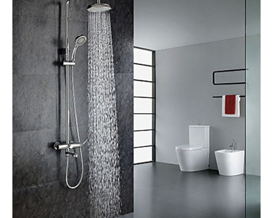 "Shower Faucets - Chrome Finish Contemporary Shower Faucet with Handheld and 8"" Showerhead--FaucetSuperDeal.com"