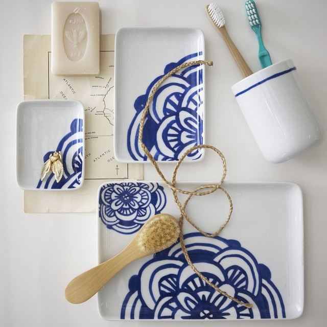 Blue White Bath Accessories Contemporary Bathroom Accessories By West Elm