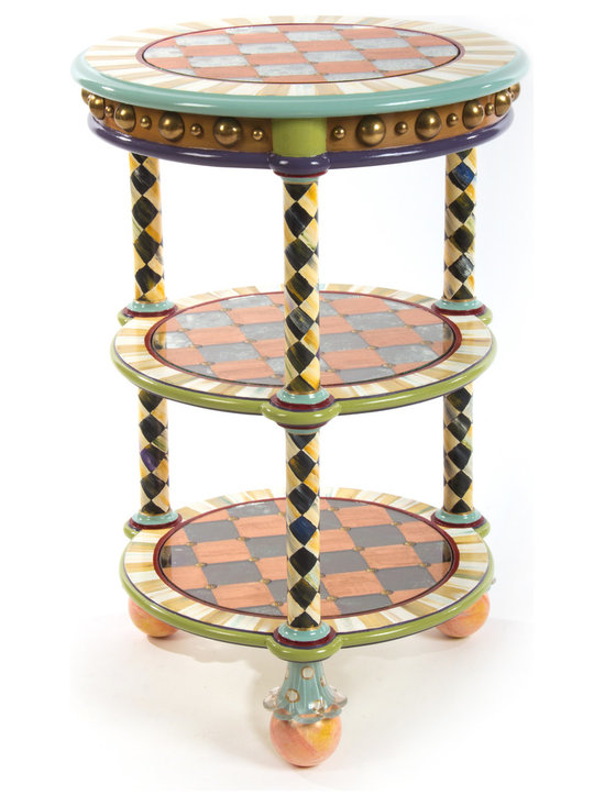 Miny Accent Table | MacKenzie-Childs - The Eeny, Miny, and Mo Accent Tables speak for themselves. Truly fun. (We left out the Meeny.) A traditional English tiered table is a versatile accent for any room. Glass inserts are copper leafed and painted on the reverse side. Glass feet and hand-painted ceramic balls finish off the table with flair. Imported wood frame, hand decorated in Aurora.