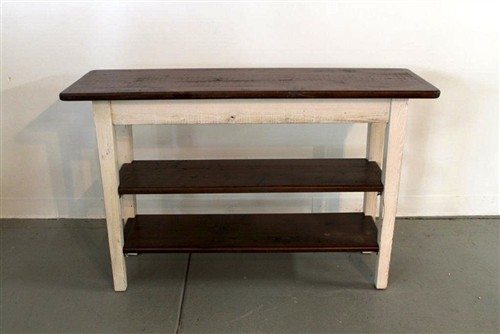 Rustic White Sofa Table With 2 Shelves farmhouse-side-tables-and-end-tables