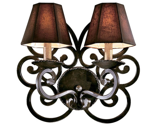 Lamp Shades Add Pizzazz! - This wall sconce from the Castile Collection features wrought iron scrollwork with a black forest finish. The dual candelabra lights are mounted on the wall with wrought-iron made spiraling back plate. This sconce will surely dazzle any space where you need some style and old-world charm.