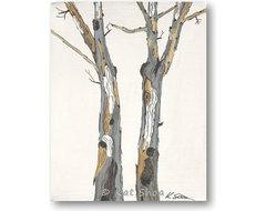 Tree art eucalyptus trunks gray white giclee print artwork modern eclectic-artwork