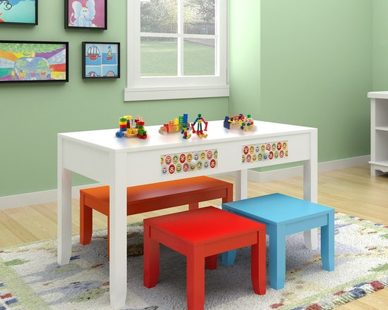 Kids Furniture - Let the colorful Play Table Set inspire children's play and craft time. With plenty of space for games and crafts, including storage and seats four, playtime will never be the same.