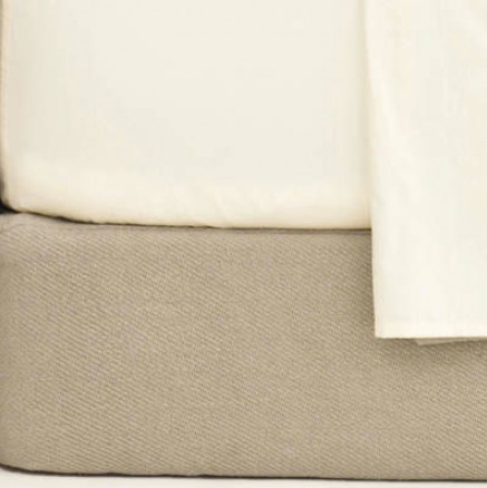 Cotton Twill Oatmeal Queen Box Spring Cover