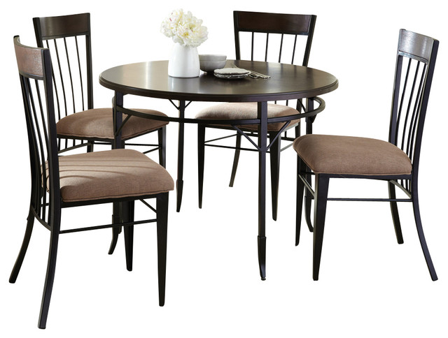 Steve silver martin 5 piece dining room set in espresso for Traditional black dining room sets