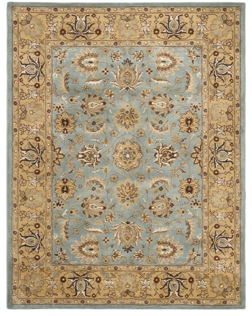 Handmade Heritage Mahal Blue/Gold Wool Rug traditional-rugs