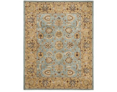 Handmade Heritage Mahal Blue/Gold Wool Rug traditional rugs