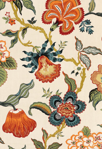 Hot House Flowers fabric, in Spark traditional-upholstery-fabric
