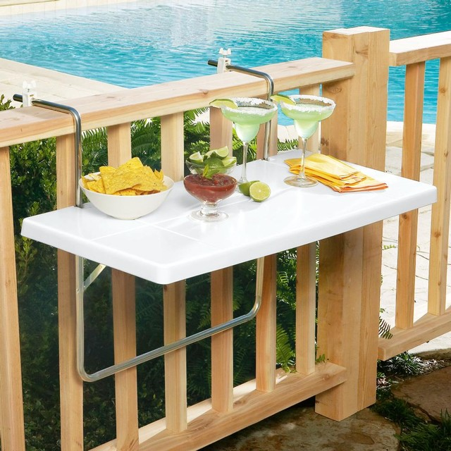 Folding Deck Rail Table Tool By Brookstone