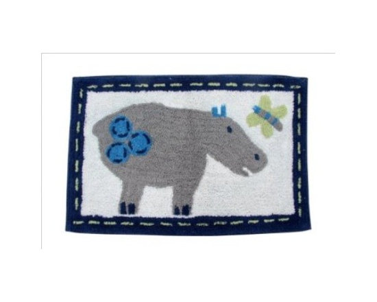 Rug Hippo - 50 x 80 cm Bath Mat or Children Rug - Colourful cheerful and well-designed 100% cotton hand tufted rugs from Homescapes have been created especially for children rooms but can also be used in other rooms including bathroom. These are good quality tufted rugs and not be confused with the usual synthetic printed rugs, yet they are very economically priced