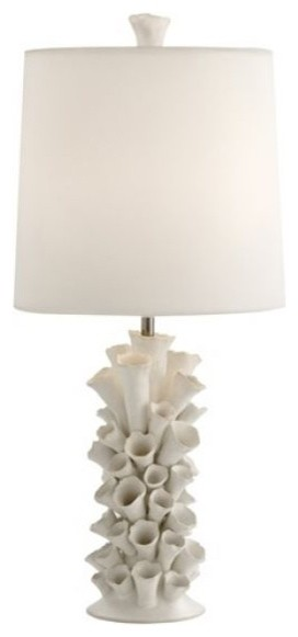 Cassidy Satin White Porcelain Table Lamp by Arteriors Home eclectic-table-lamps