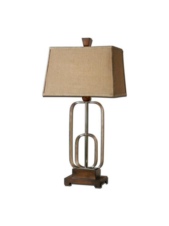 Uttermost Piomba - Antiqued silver metal accented with burnished wood toned details. The rectangle straight sided shade is a coarse weave khaki linen fabric.