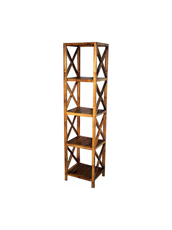 "Master Garden Products - Solid Bamboo Square Shelves, five tiers, 14.5""W x 13""D x 60"" H - Our bamboo shelf and racks can be used in residential or commercial premises. Use them in your bathroom as a towel rack, in the living room as a book shelf, or for your business as a retail display shelf."